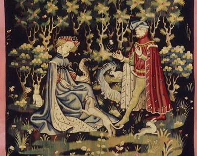 """""""L'Offrande du Cœur"""" - Louvre - Tapisserie laine et soie vers 1410"""